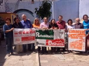 En el barrio del Cabañal con las organizaciones sociales y con Mónica Oltra, Jordi Sebastià y Joan Ribó..